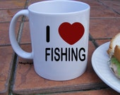 I Love Fishing Coffee Mug, Red Heart, Fathers Day, Grandpa, Angler, Trout, fly fishing, deep sea, lake