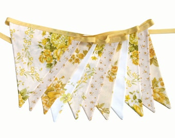 Vintage Bunting - Retro Yellow Spring Summer Lemon & Lace Floral Flags . Shabby Chic 'Sunshine' Party Decoration. Birthday Parties Pennant