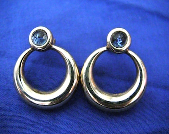 blue glass earrings,vintage 80s