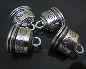 30 pcs Oval Silver Solid End Caps - Findings Silver Very Large Leather Cord Ends Cap with Loop 20mm x 20mm (inside Oval 16mm x 10mm)