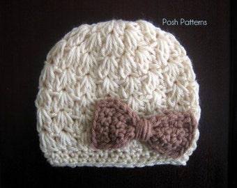 Crochet PATTERN - Crochet Hat Pattern - Crochet Bow Hat Pattern - Baby Hat Pattern - Baby, Toddler, Child, Kids, Adult Sizes - PDF 310