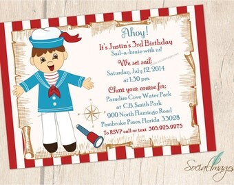 Vintage SAILOR BIRTHDAY INVITATION nautical - Boy sailor