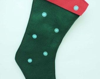 Kelly Green Felt Christmas Stocking 16 inches long