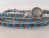Turquoise and Czech beads Native American Inspired four wrap Bracelet,wrap bracelet,