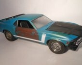 Scale Model Ford Mustang in Teal by Classicwrecks Rusted Car