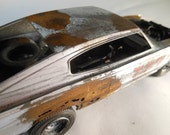 Toy Car,Scale Model Car, Dodge Charger, Silver and Rust,  Classicwrecks