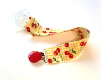 SALE - Pacifier Holder - Binky Clip - Cherries - Discounted