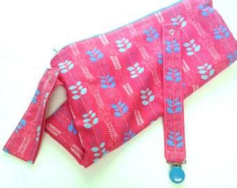 Gift Set: Medium Cloth Diaper Wet Bag + Matching Pacifier Clip