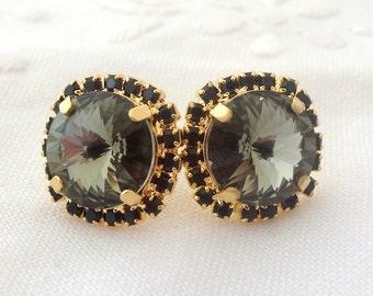 Grey estate Swarovski crystal stud earrings, Black diamond Rhinestone earrings, Smokey grey, Bridal earrings, Bridesmaid gifts, gold plate