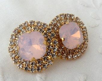 opal earrings,Pink opal stud earrings,pink bridal earrings,Swarovski earrings,pink bridesmaids earrings,stud earrings,large stud earrings