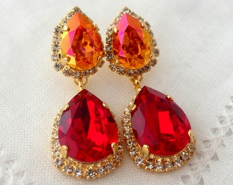 Deep red and Orange pink Swarovski Chandelier earrings, Bridal earrings, Dangle earrings, Orange Red, Drop earrings, Wedding jewelry, gift
