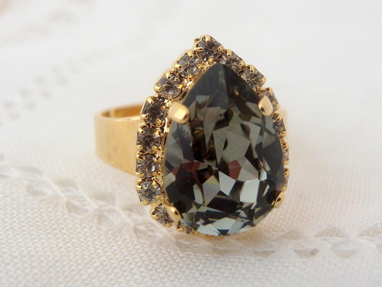 smokey grey adjustable gemstone ring gray by eldortinajewelry