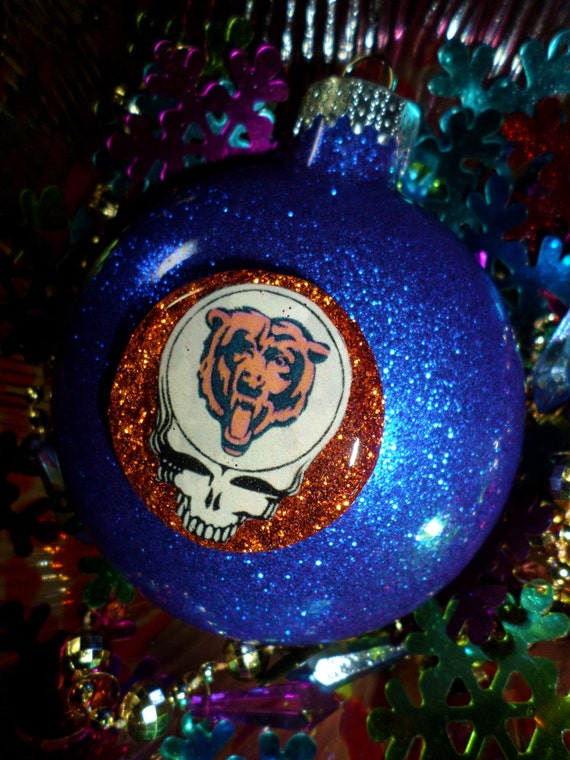 Grateful Dead Chicago Bears Steal Your Face Glass Glitter