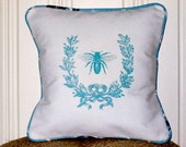 "shabby chic, feed sack, french country, vintage bee graphic with light blue welting ORGANIC cotton 14"" x 14"" pillow sham."