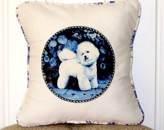 """shabby chic, feed sack, french country, delft Bichon Frise graphic with toile welting 14"""" x 14"""" pillow sham."""
