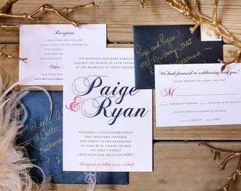 Wedding Invitation, Calligraphy, Coral and Navy Wedding, Printable Invitation, Cursive Love, Script, Modern, Printable Invitation,