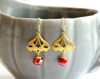 Art Nouveau Filigree Earrings in Cranberry