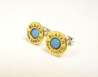 Bullet earrings synthetic opal and brass Blazer 9mm post earrings October birthstone