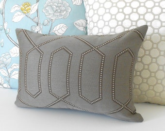Designer lumbar pillow cover, Dwell Studio dotted trellis pillow, grey and brown decorative pillow