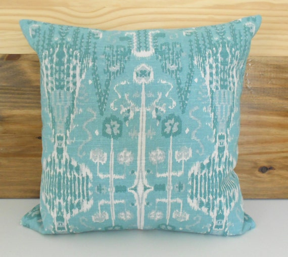 Teal Decorative Bed Pillows : Teal seafoam ikat decorative pillow cover