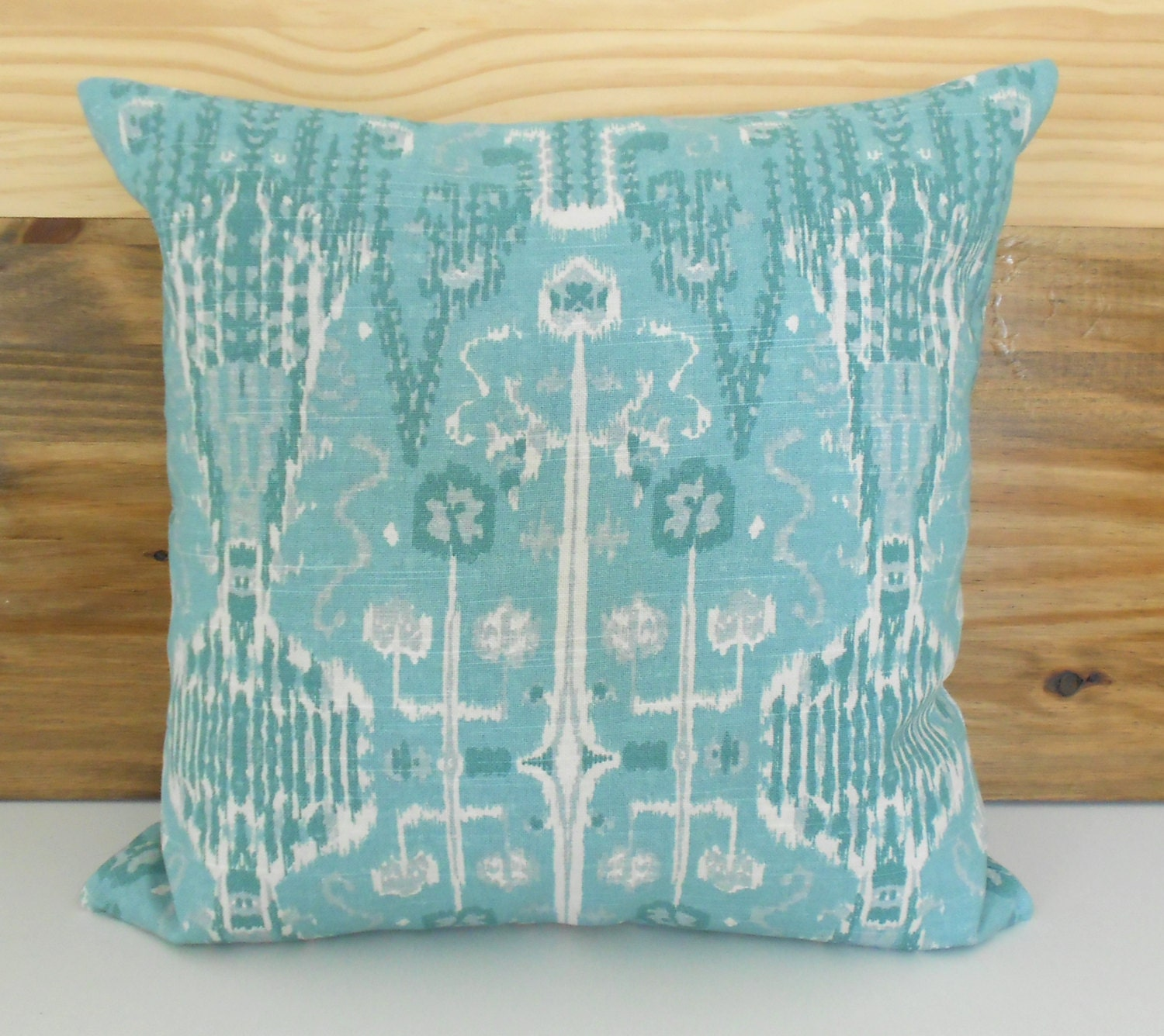 Teal seafoam ikat decorative pillow cover