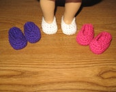 "slippers shoes 3 Pairs Hand-Crocheted for 18 inch 18"" dolls Pink White and Purple will fit American Girl doll"
