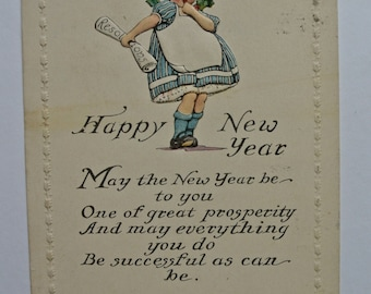 Happy New Year Postcard 1910s.