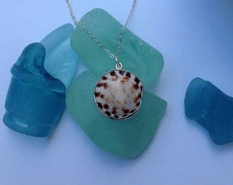 Sterling Silver Bezeled Hebrew Cone Puka Shell Necklace
