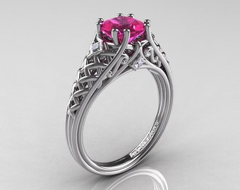 Classic French 14K White Gold 1.0 Ct Princess Pink Sapphire Diamond Lace Engagement Ring or Wedding Ring R175P-14KWGDPS