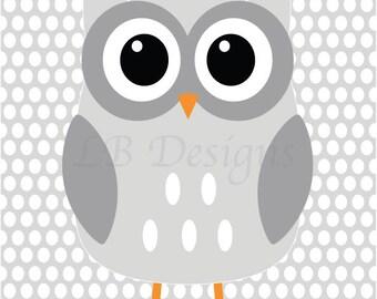 Gray Woodland Nursery Print, Gender Neutral Nursery Decor, Gray and White Nursery, Owl Nursery Print, Woodland Bedroom Decor, Playroom Decor