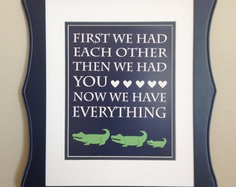 Navy Blue and Green Alligator Nursery Quote Print - 8x10