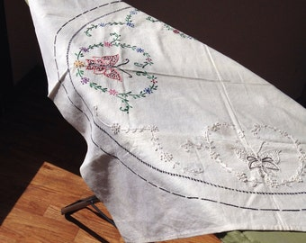 Vintage Hand Embroidered Butterfly Table Square