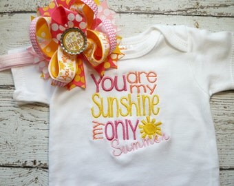 Newborn girl take home outfitpersonalized baby girl coming home  Oufit,   Gown,  and Hat Set, Girls Take Home, you are my sunshinebaby gift