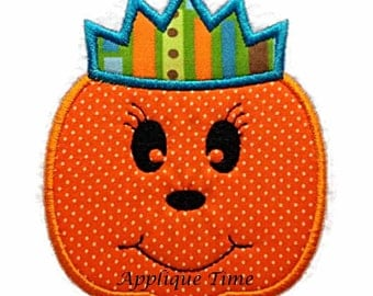 Instant Download Pumpkin Princess Embroidery Applique Design 4x4, 5x7 and 6x10