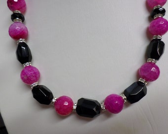Handmade Necklace Purple Dragons Vein Agate & Onyx, Faceted Beads, Rhinestone Spacers, Silver Accents OOAK