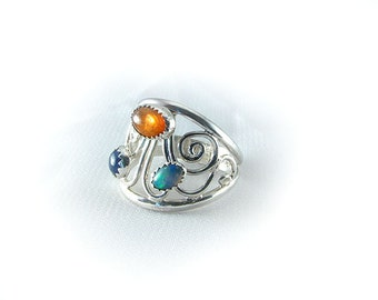 Handmade Sterling Opal, Sunstone, and Lapis Ring size 7.5 wide multi stone ring OOAK