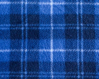 Blue Plaid Print 07 Fleece Fabric by the yard