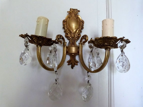 French Brass Wall Sconces : Antique French crystal brass wall sconce by MyFrenchAntiqueShop