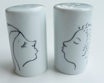 Personalized hand painted porcelain salt and pepper shakers - engagement wedding gift - gift for couples anniversary boy and girl kissing
