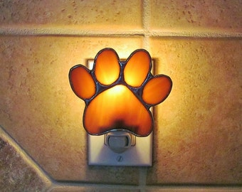 """Stained Glass Puppy Paws Night Light in Medium Amber and Ivory Swirl Opalescent Glass - 4"""" x 3.25"""""""
