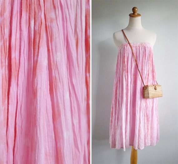 Vintage 70's Indian Cotton Gauze Pink Tie Dye Skirt XS S M L
