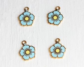 Tiny Blue Flower Charms (2x)