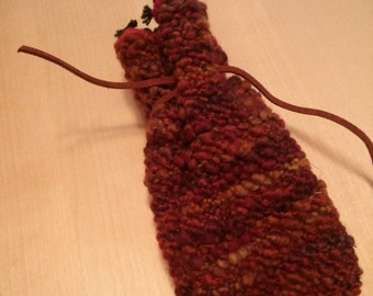 Handwoven Natural Chunky Yarn Drawstring Pouch, DnD Pouch, Tarot Card Holder