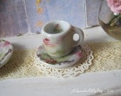 Cherry Cupcake Coffee Mug and Plate for Dollhouse