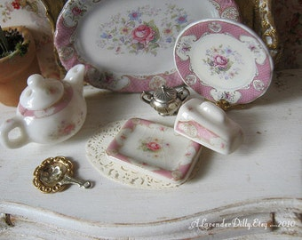 Pink Staffordshire Rose Butter/Cheese Dish