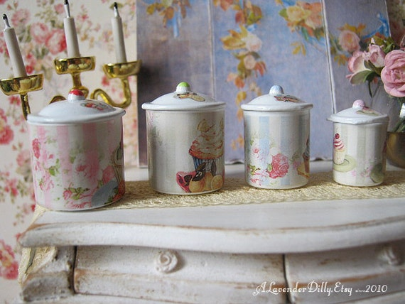 cupcake canisters for kitchen shabby cupcake kitchen canisters for dollhouse 1 12 scale 3465