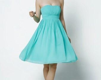 On Sale Size XXS Mint Wedding dress/Silk Chiffon party dress/ bridesmaid dress/Prom/ handmade/ knee length formal dress - NC520-3