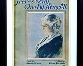 """Antique Grandmother Portrait Art to Frame, Vintage 1920s Sheet Music, """"There's Only One Pal After All"""""""