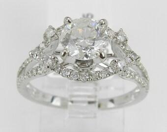 Diamond Engagement Ring 18K White Gold 1.65 ct Brilliant Natural Genuine Size 6.75