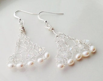 Silver Pearl Chandelier Earrings Knitted Wire Wrapped
